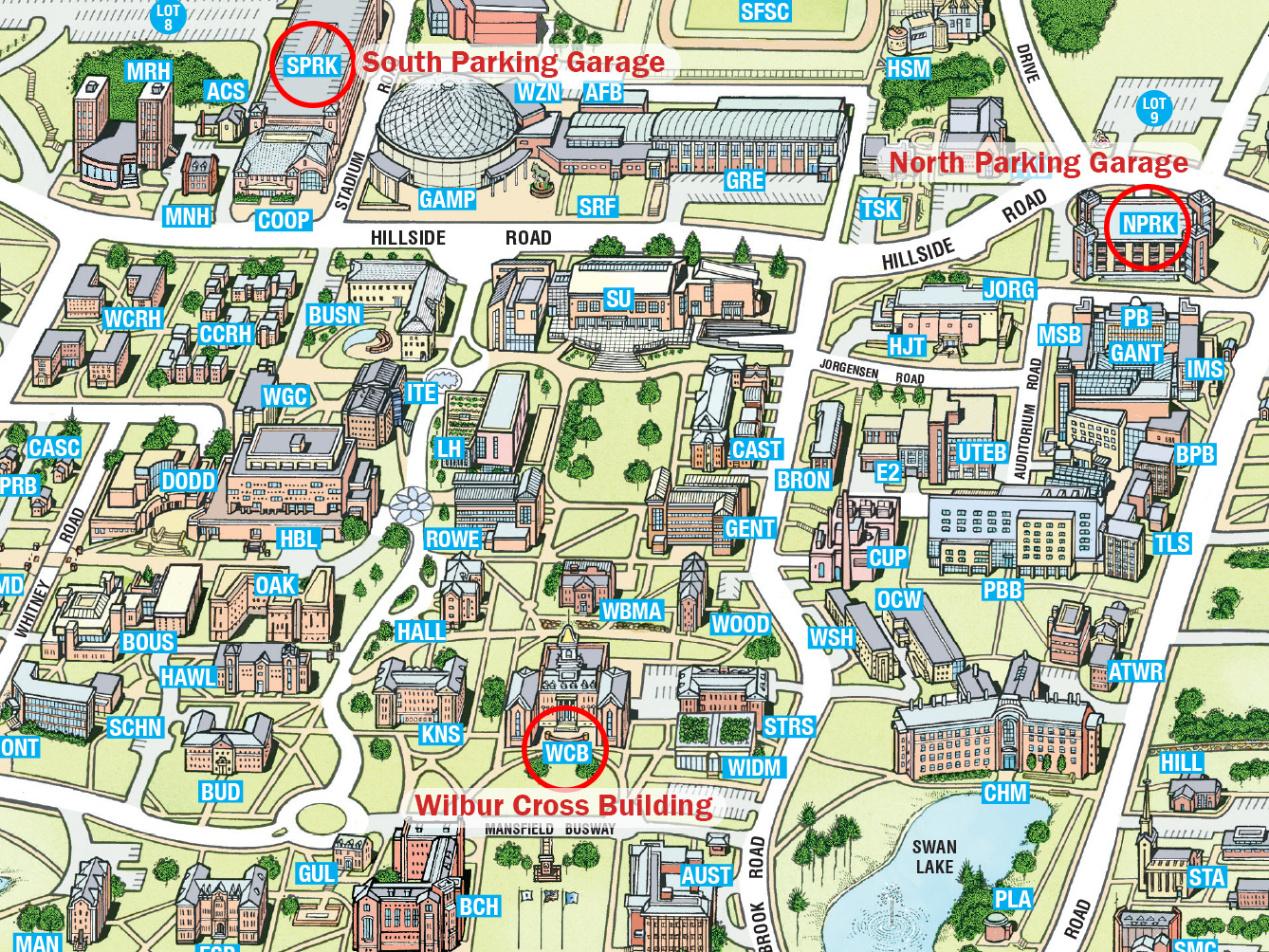 directions to university of connecticut storrs campus and the